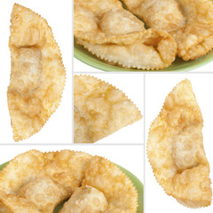 collage with cheburek stuffed isolated on white background
