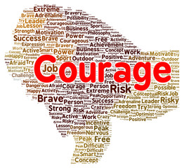 Courage word cloud shape