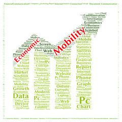 Economic mobility word cloud shape