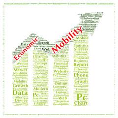 Economic mobility word cloud shape