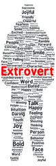 Extrovert word cloud shape