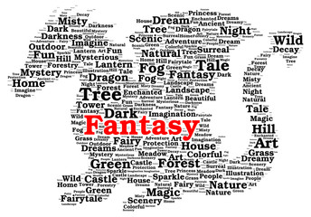 Fantasy word cloud shape
