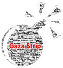 Gaza strip word cloud shape