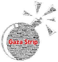 Gaza strip word cloud shape