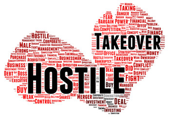 Hostile takeover word cloud shape