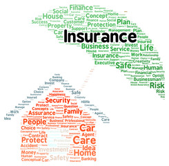 Insurance word cloud shape