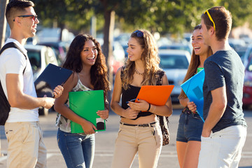 A group of friends talking in the street after class