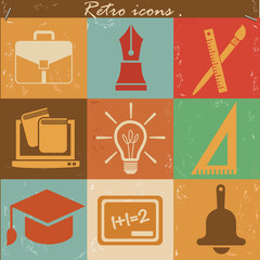 Education icons,vintage vector