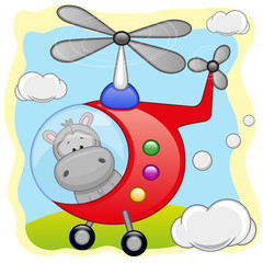 Hippo in helicopter