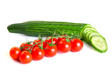 Red cherry tomatoes and green cucumber
