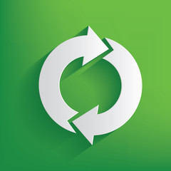 Refresh symbol on green background,clean vector