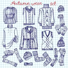Outline Sketchy notepaper.Females knitted clothing set