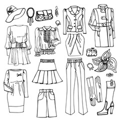 Outline Sketch.Females clothing and accessories set