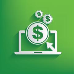 Make money symbol on green background,clean vector