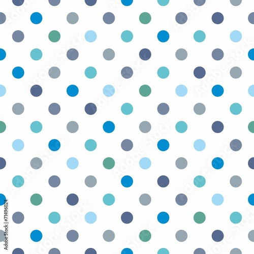 Tile vector pattern with polka dots on white background - 71496024