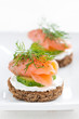 canape with cheese, cucumber and salmon, close-up - 71496269