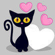 Black kitten with hearts