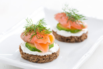 canape with cheese, cucumber and salmon