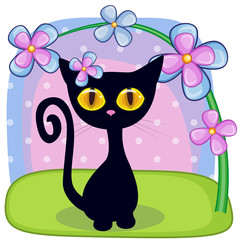 Black kitten with flowers