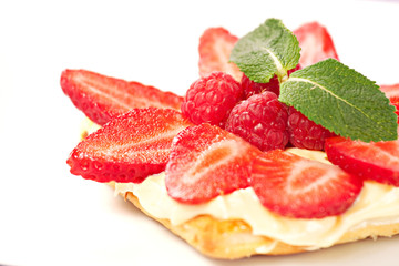 Fruit Tart with Fresh Cream in Puff Pastry