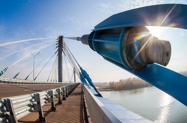 Kirovsky cable bridge across the Samara river in Kirovsky distri
