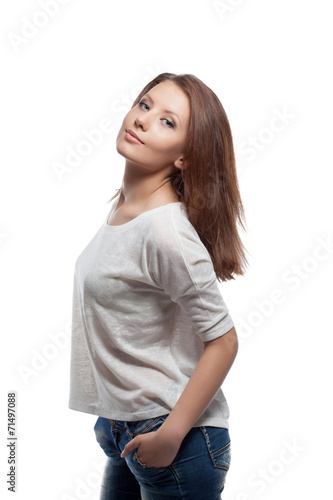 canvas print picture Smiling beautiful girl isolated on white, close-up