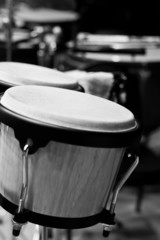 Bongos on the stage closeup in black and white