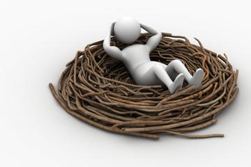 Man resting on the bird nest