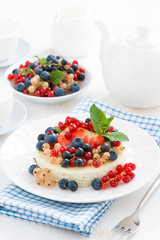 mini cheesecake with fresh berries, vertical