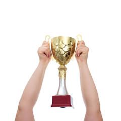 golden cup in hands