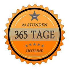 ql57 QualityLabel - 24 Stunden 365 Tage Hotline - orange g2034