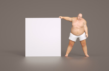 Fat man with empty sign - for your own text