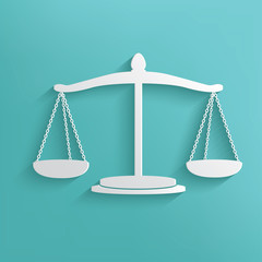 Justice scale symbol on blue background,clean vector