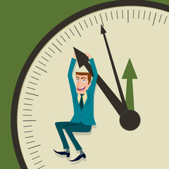 Businessman hangs on an arrow and of clock.