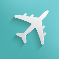 Airplane symbol on blue background,clean vector