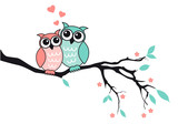 Cute owls in love, vector