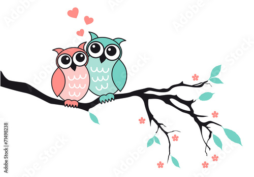 Cute owls in love, vector - 71498238