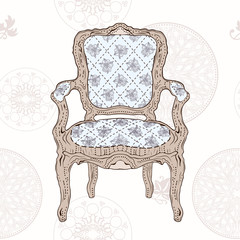 vintage chair and radial pattern