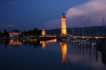 lighthouse and Bavarian Lion sculpture in Lindau, Germany