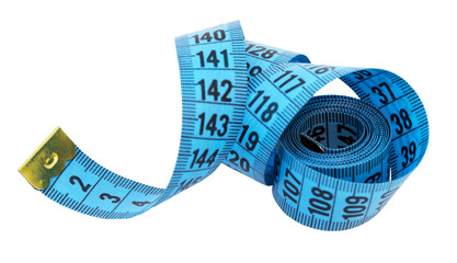 Measuring tape of the tailor isolated over white