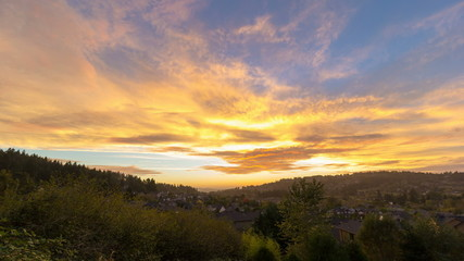 Time-lapse of Sunset with Clouds over Happy Valley in OR