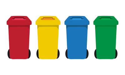 many color wheelie bins set