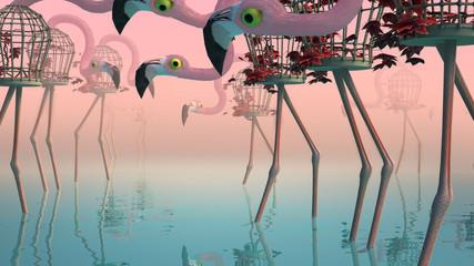 Flamingo in Fog