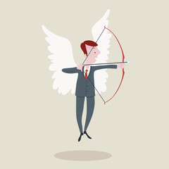 businessman with the wings shooting the arrow.