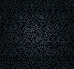 Black grunge luxury vintage decorative ornamental  wallpaper