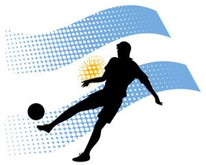 argentina soccer player against national flag