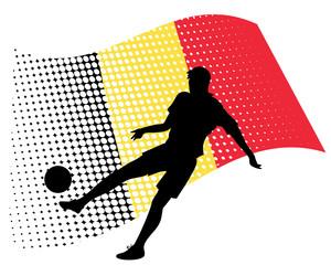 belgium soccer player against national flag