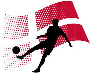 denmark soccer player against national flag