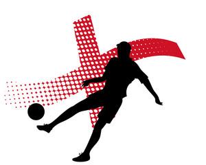 england soccer player against national flag