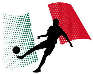 mexico soccer player against national flag